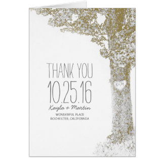 Oak tree romantic rustic country wedding thank you note card