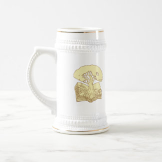 Oak Tree Rooted on Book Drawing Beer Stein
