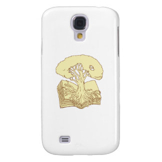 Oak Tree Rooted on Book Drawing Galaxy S4 Cases