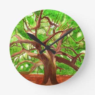 Oak Tree Round Clock