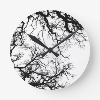 oak tree silhouette round clock