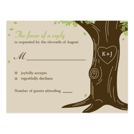 Oak Tree Wedding RSVP Postcard Postcards