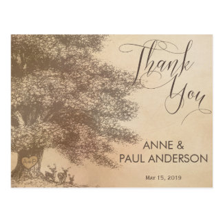 Oak tree with deers Thank You Card Postcard