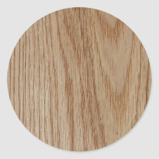 Oak Wood Grain Look Round Sticker