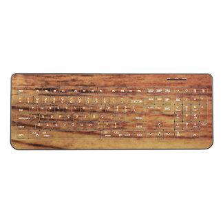 Oak Wood Wireless Keyboard