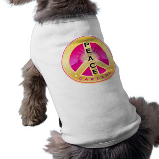 Oakland California Peace Pet Shirt, pink on white Sleeveless Dog Shirt