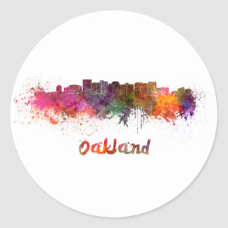 Oakland skyline in watercolor classic round sticker