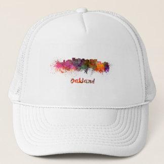 Oakland skyline in watercolor trucker hat