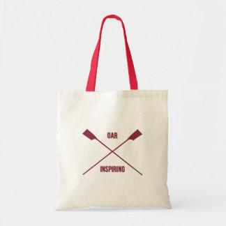 Oar inspiring slogan and crossed oars deep red tote bag