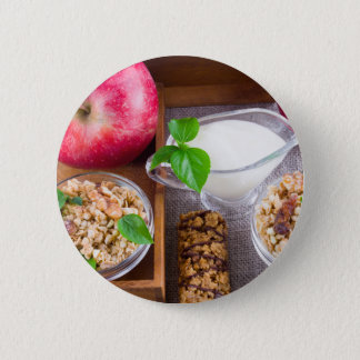Oat cereal with nuts and raisins 6 cm round badge