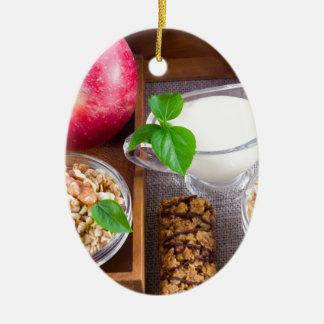Oat cereal with nuts and raisins ceramic oval decoration