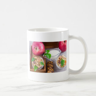 Oat cereal with nuts and raisins coffee mug
