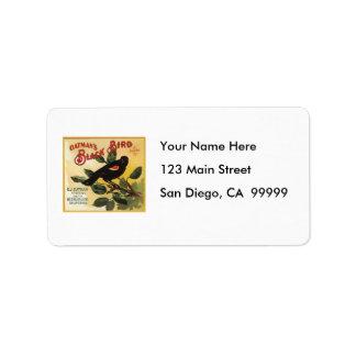 Oatman's Black Bird Brand Fruit Crate Label Address Label