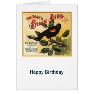 Oatman's Black Bird Brand Fruit Crate Label Greeting Card