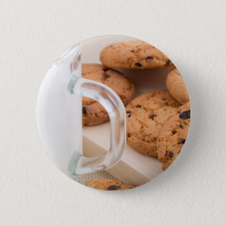 Oatmeal cookies and milk for breakfast close-up 6 cm round badge