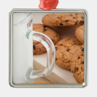 Oatmeal cookies and milk for breakfast close-up Silver-Colored square decoration