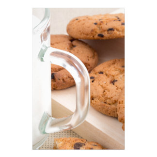 Oatmeal cookies and milk for breakfast close-up stationery