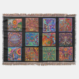 Oaxaca Mexico Mexican Mayan Tribal Art Boho Travel Throw Blanket