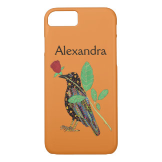 Oaxacan Crow & Red Rose Mexican Art Custom Name iPhone 7 Case