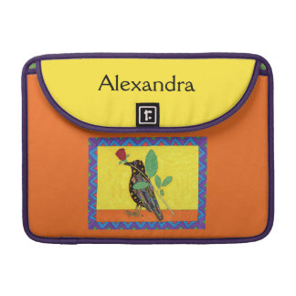 Oaxacan Crow & Red Rose Mexican Art Custom Name Sleeve For MacBook Pro