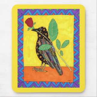 Oaxacan Crow & Red Rose Mexican Folk Art Mouse Pad