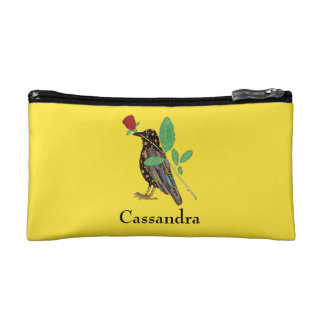 Oaxacan Crow & Rose Mexican Folk Art Personalized Makeup Bag
