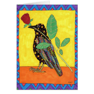 Oaxacan Crow with Red Rose Card