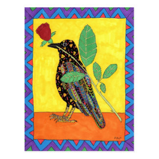 Oaxacan Crow with Red Rose Postcard