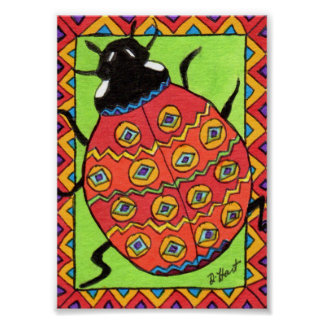 Oaxacan Ladybug Mini Mexican Folk Art Poster