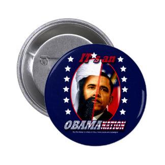 Obam-a-nation (sq) 6 cm round badge