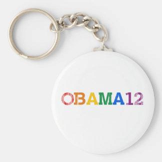 Obama 12 Rainbow Vintage.png Basic Round Button Key Ring