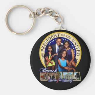 OBAMA-1ST FAMILY-Keychain Basic Round Button Key Ring