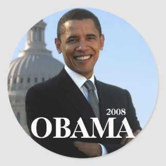 OBAMA, 2008 ROUND STICKER