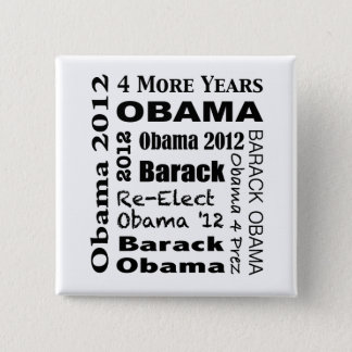 OBAMA 2012 Block Design 15 Cm Square Badge