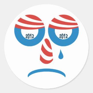 Obama 2012 Sad Face Round Sticker
