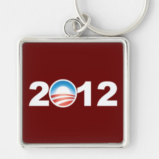 Obama 2012 Silver-Colored square key ring
