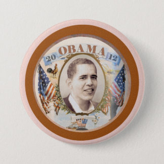 Obama 2012 Twin Flags Design 7.5 Cm Round Badge