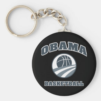 Obama Basketball Grey v1 Basic Round Button Key Ring
