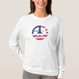 Obama Biden 2012 American Flag Peace Sign T-Shirt