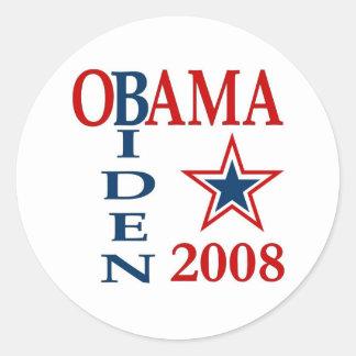 Obama Biden Cross 2008 Round Stickers