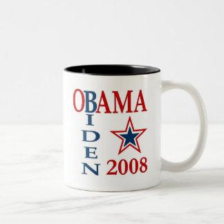 Obama Biden Cross 2008 Two-Tone Coffee Mug