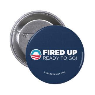 Obama Biden Fired Up Read To Go (Dark Blue) 6 Cm Round Badge