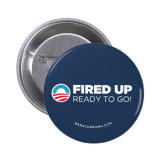 Obama Biden Fired Up Read To Go (Dark Blue) 6 Cm Round Badge