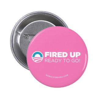 Obama Biden Fired Up, Ready To Go (Pink) 6 Cm Round Badge