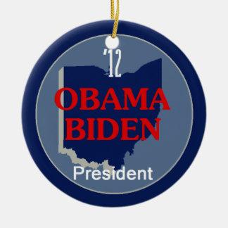 Obama Biden OHIO Round Ceramic Decoration