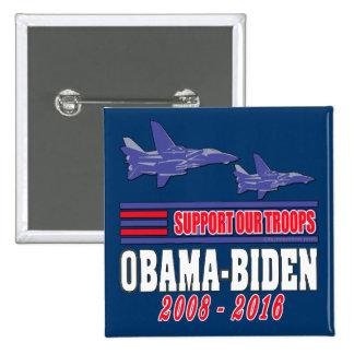 Obama Biden Support Our Troops 15 Cm Square Badge