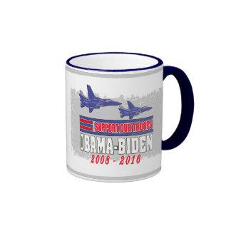 Obama Biden Support Our Troops Ringer Mug