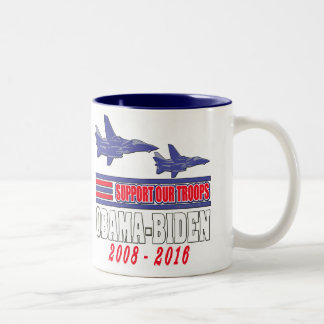 Obama Biden Support Our Troops Two-Tone Mug