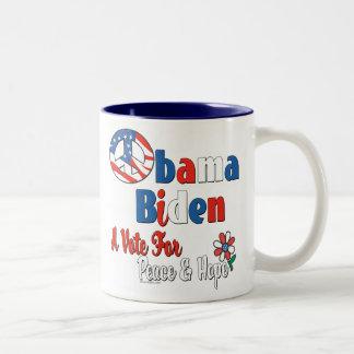 Obama Biden Vote for Peace and Love Two-Tone Mug