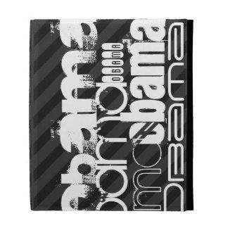 Obama; Black & Dark Gray Stripes iPad Folio Cases